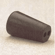 Plasticoid Black Rubber Stoppers, Two-Hole 10-M292