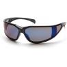 Pyramex Exeter Safety Glasses - Blue Mirror Anti-Fog Lens, Glossy Black Frame SB5175DT, Pack of 12