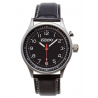 Zippo Casual Jet-black Face Classic Style Watch, Black Dial & Black Leather Strap